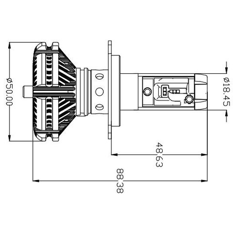 Набір світлодіодного головного світла UP-X3HL-H4W-6000LM (H4, 6000 лм, холодний білий) Прев'ю 1